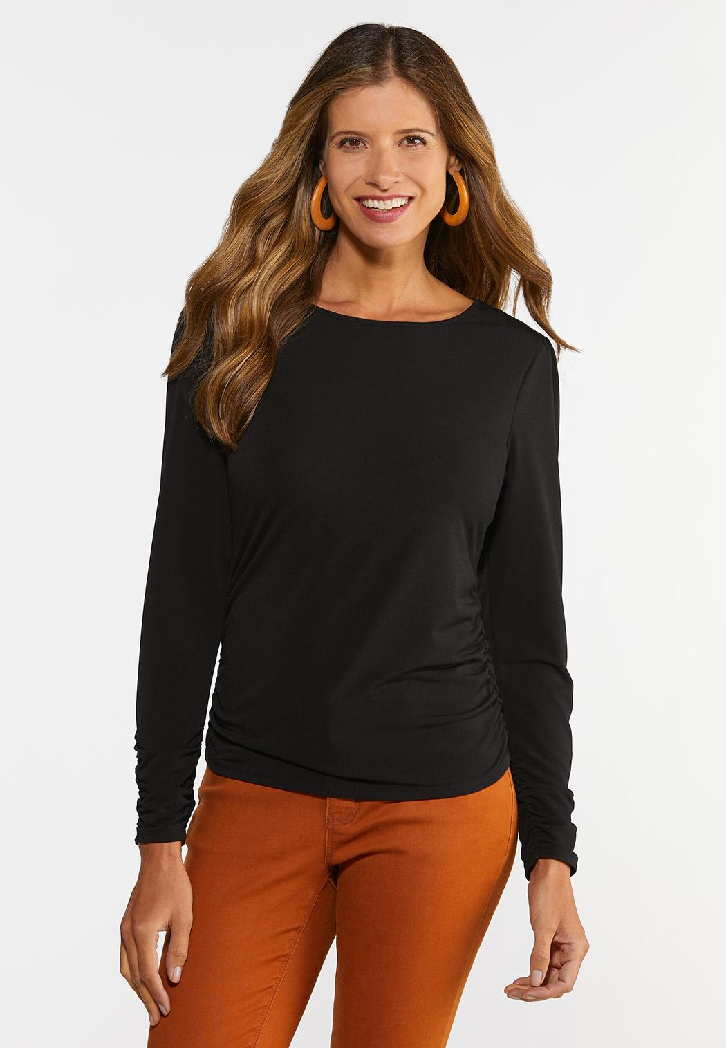 Plus Size Solid Cinched Sleeve Top