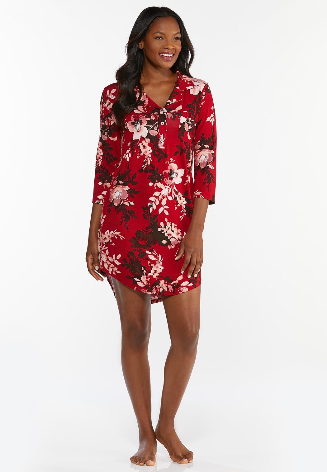 Red Floral Sleep Shirt