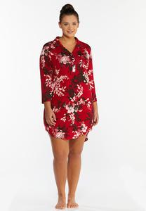 Plus Size Red Floral Sleep Shirt