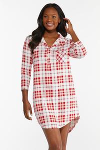 Red Plaid Sleep Shirt