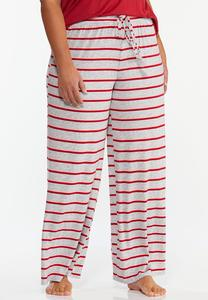 Plus Size Tasseled Stripe Sleep Pants