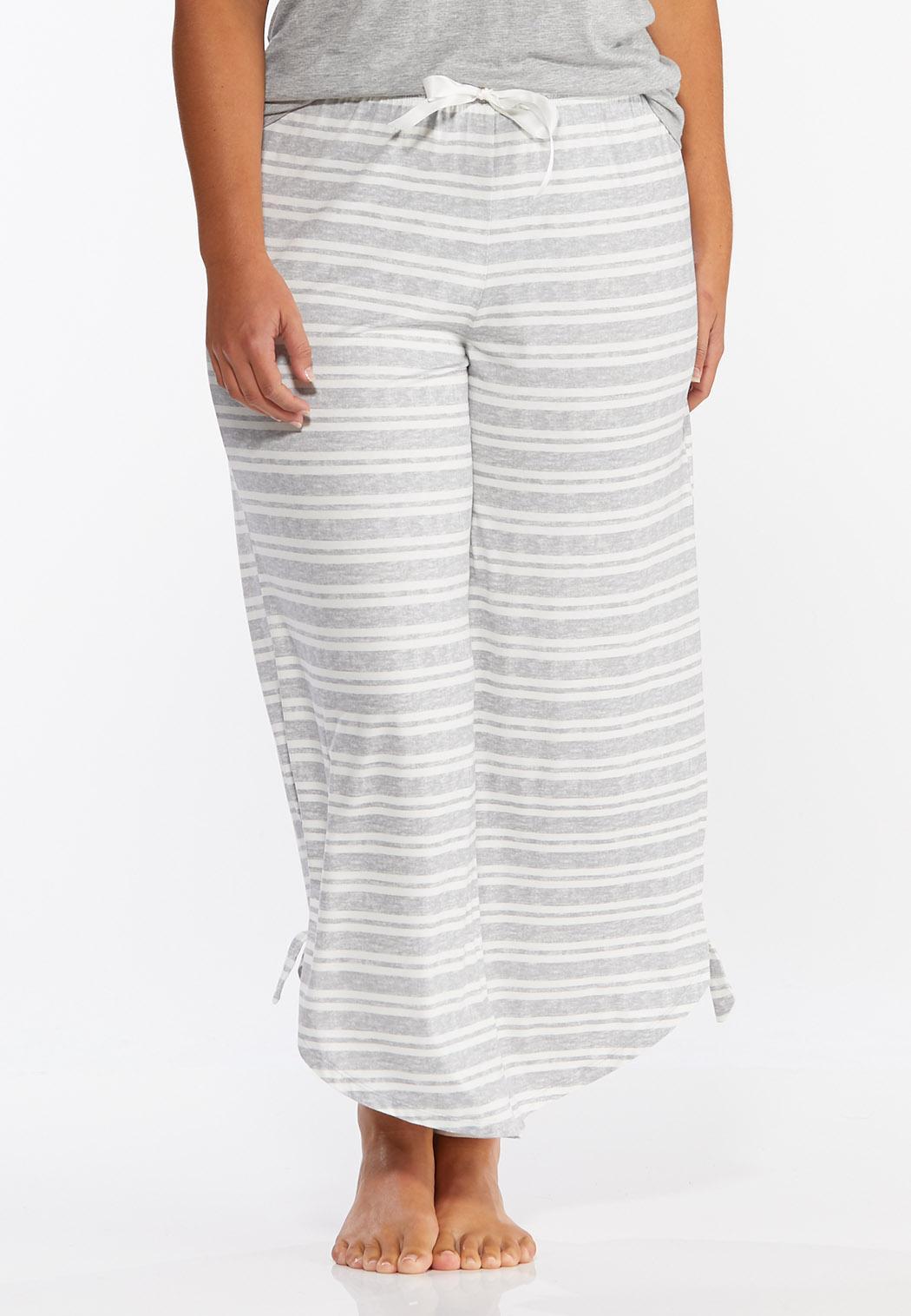 Plus Size Gray Stripe Sleep Pants