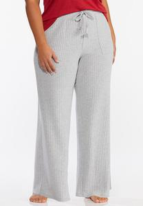 Plus Size Ribbed Wide Leg Sleep Pants