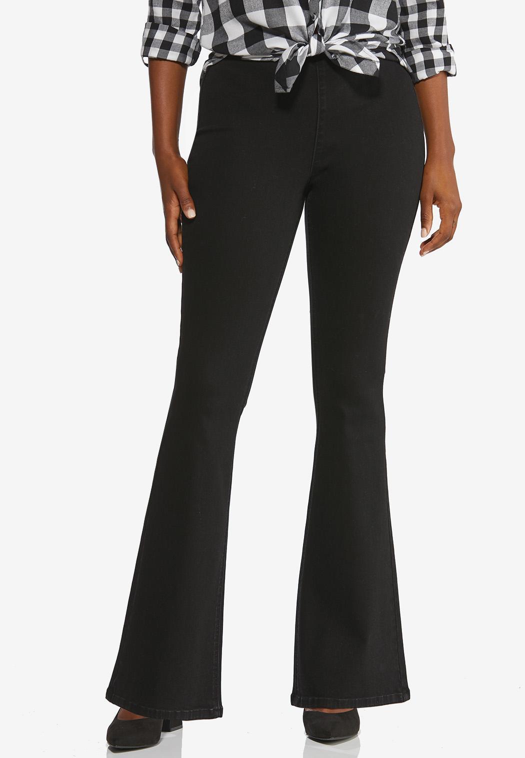 Black Pull-On Flare Jeans