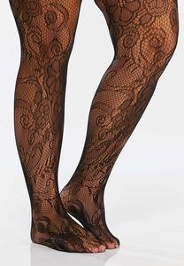 Plus Size Floral Lace Tights