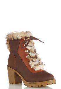 Fur Colorblock Hiker Boots