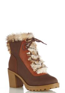 Fur Colorblock Hiker Boots