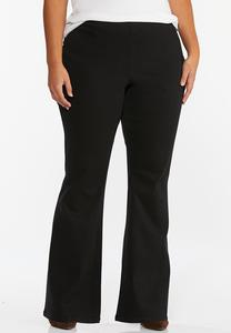 Plus Size Black Pull-On Flare Jeans