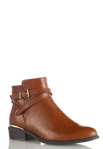 Wide Width Buckle Strap Ankle Boots