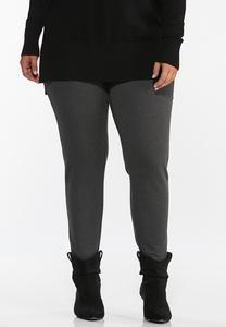 Plus Size Charcoal Ponte Leggings