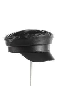 Faux Leather Cabbie Hat