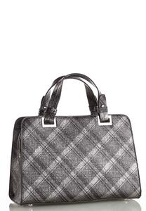 Metallic Plaid Satchel