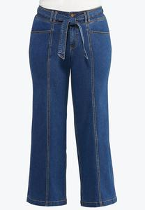 Plus Size Tie Front Flare Jeans