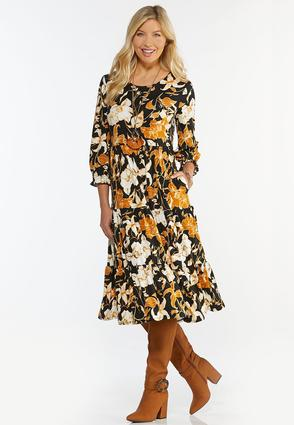 Plus Size Floral Tiered Midi Dress
