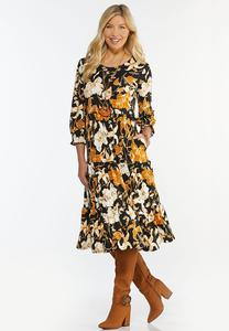 Plus Size Floral Tiered Midi Skirt