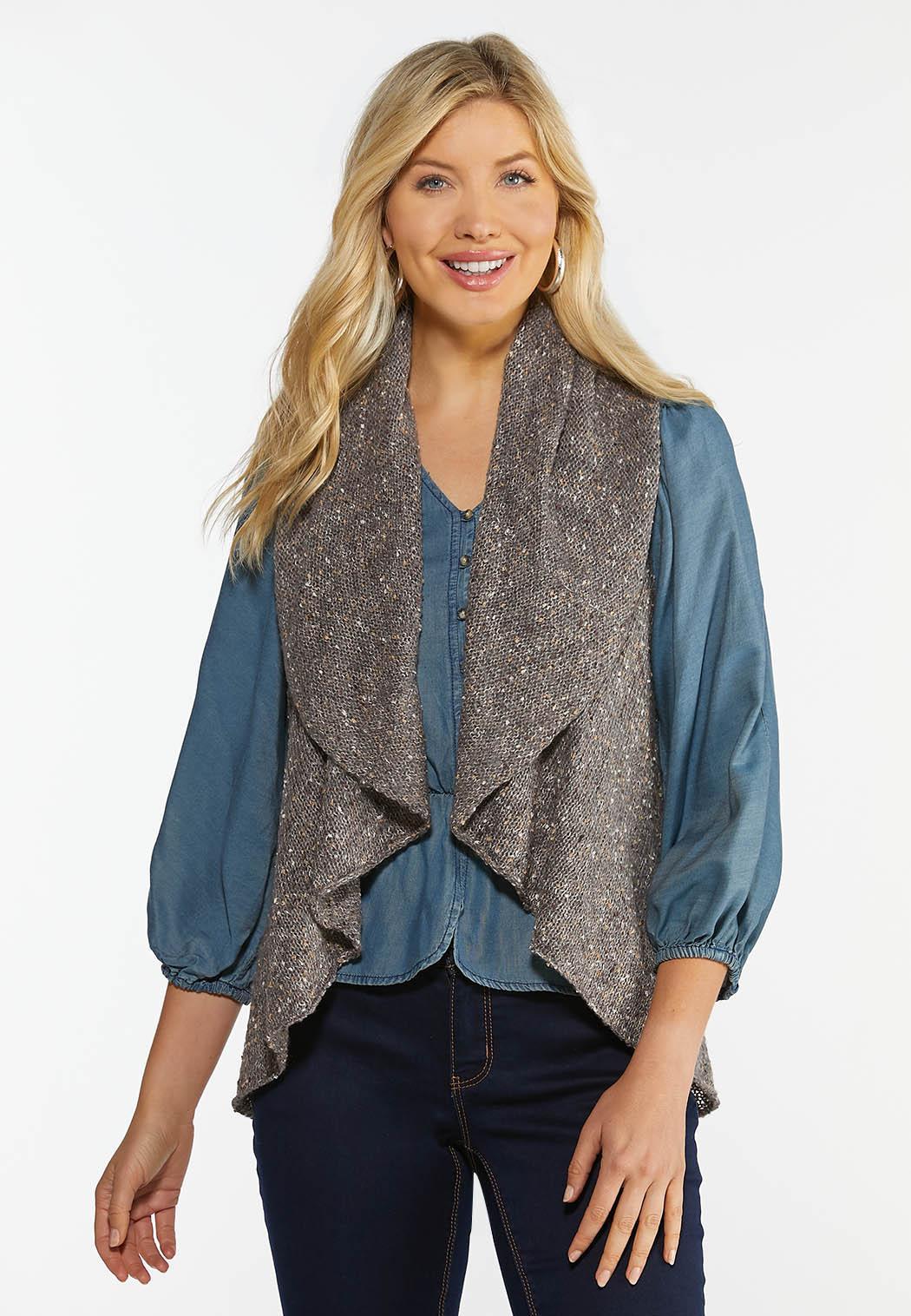 Plus Size Drape Front Circle Vest