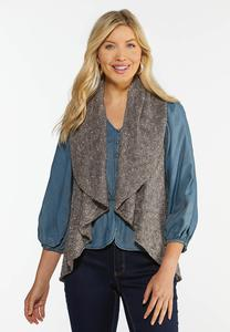 Plus Size Drape Front Circle Vest