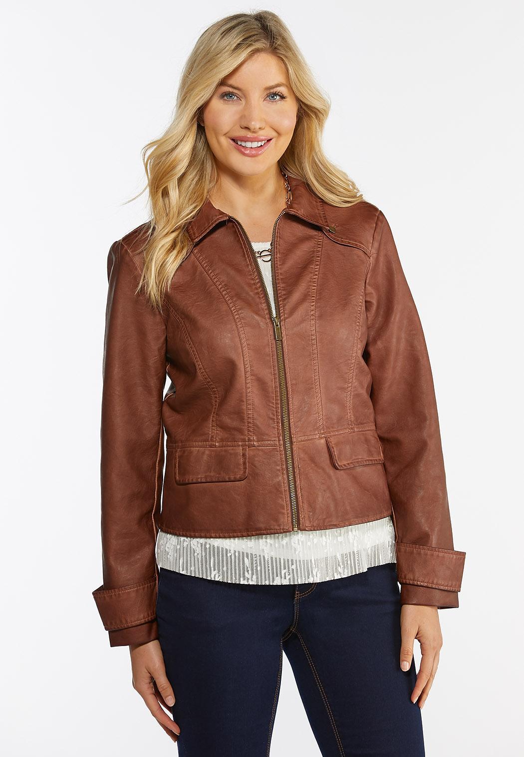 Plus Size Faux Leather Jacket