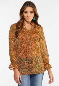 Plus Size Shimmery Floral Poet Top