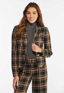 Plus Size Gold Plaid Blazer