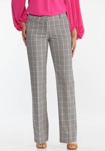 Pink Plaid Trouser Pants