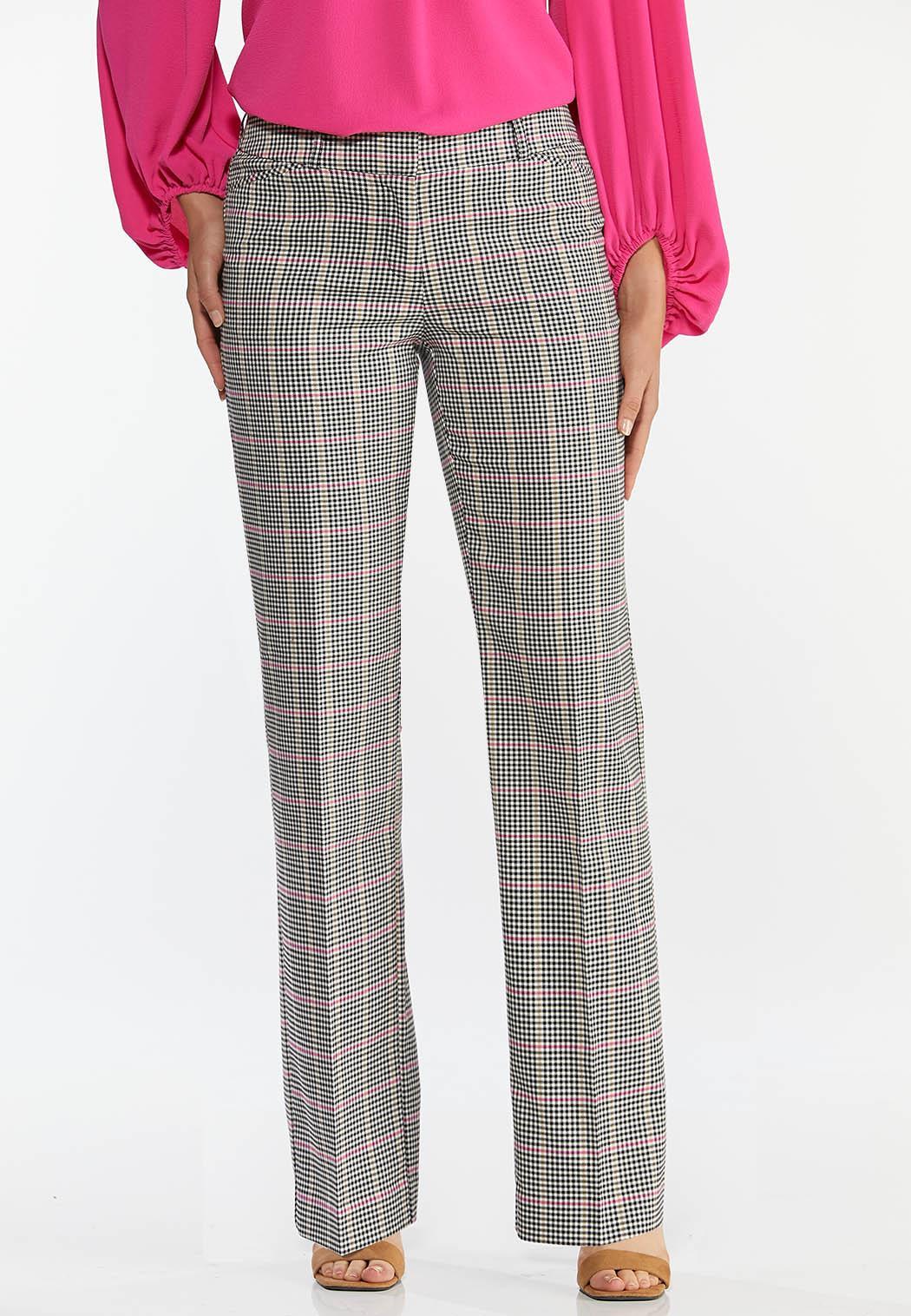 Petite Pink Plaid Trouser Pants