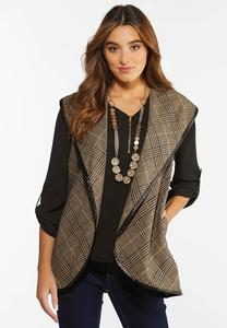Plus Size Plaid Faux Trim Vest