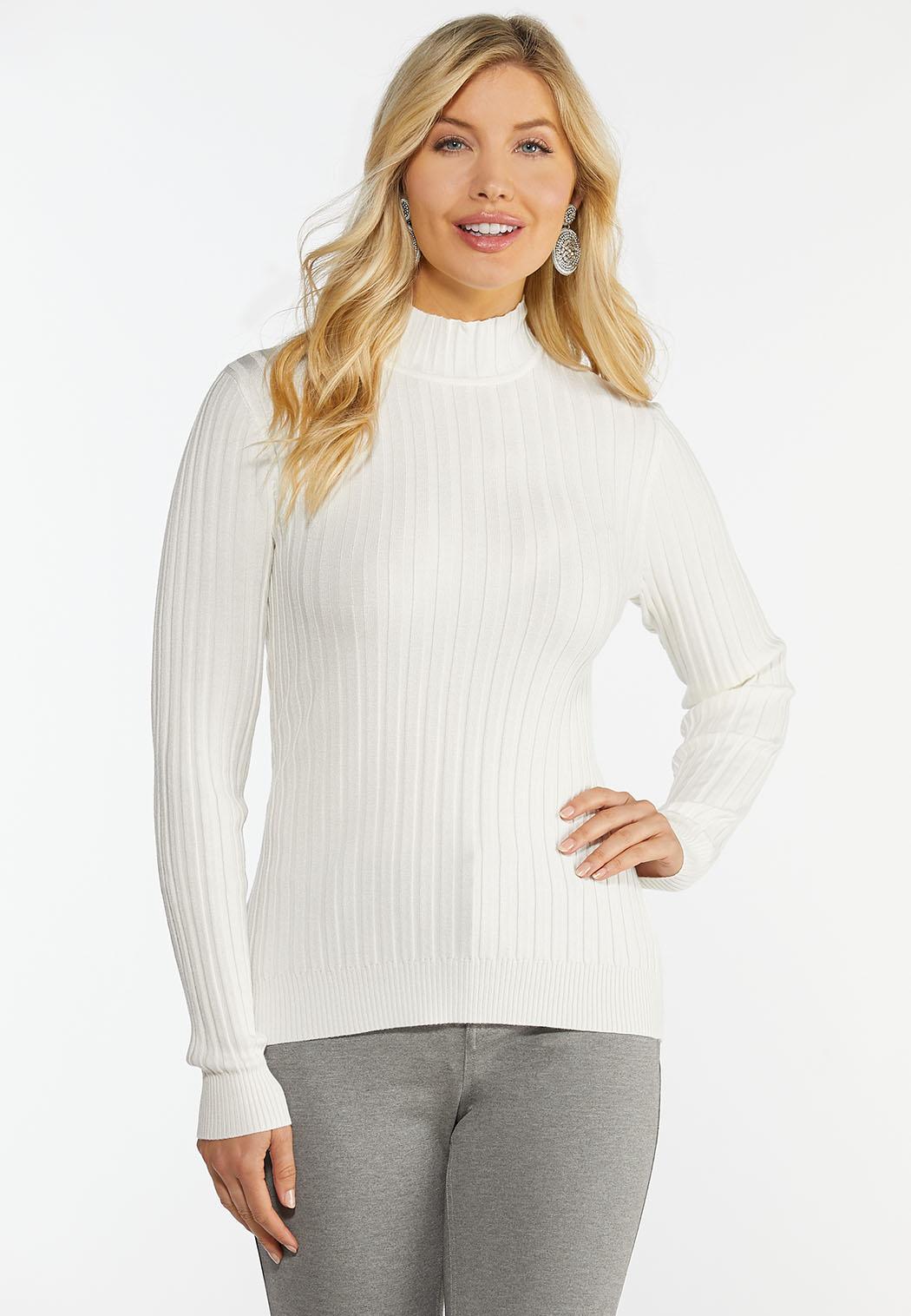 Plus Size Ribbed Mock Neck Sweater