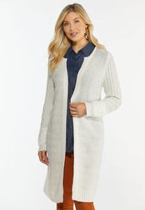 Plus Size Mixed Texture Cardigan Sweater