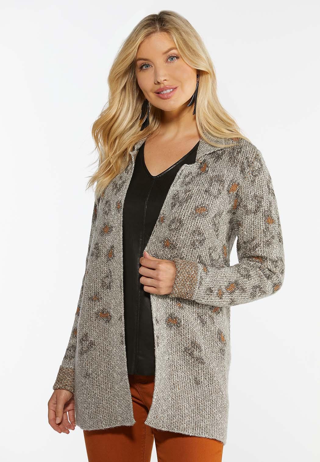 Plus Size Leopard Cardigan Sweater