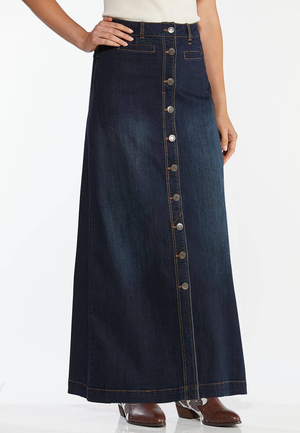 Plus Size Denim Button Down Maxi Skirt