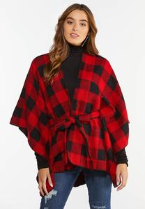 Plaid Tie Front Wrap
