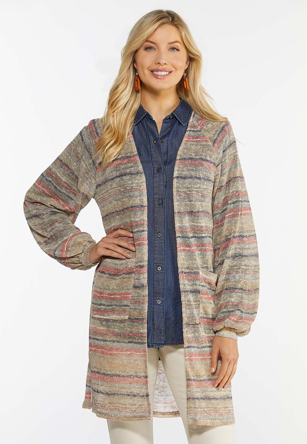 Plus Size Stripe Cardigan Sweater