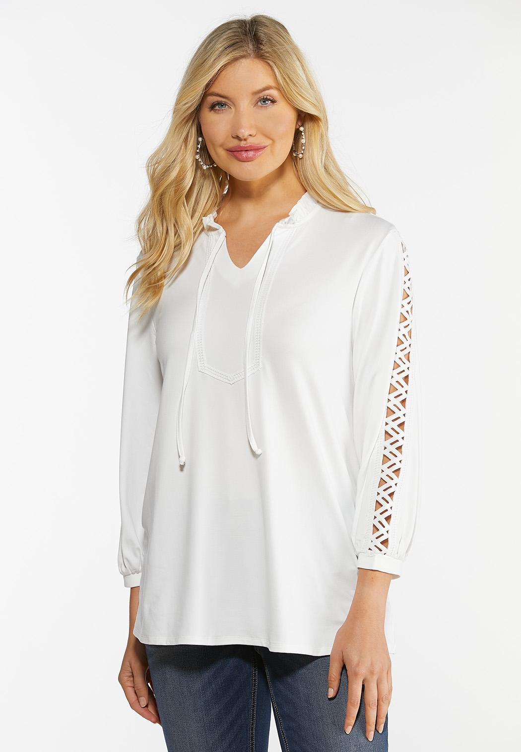 Zig Zag Cutout Sleeve Top