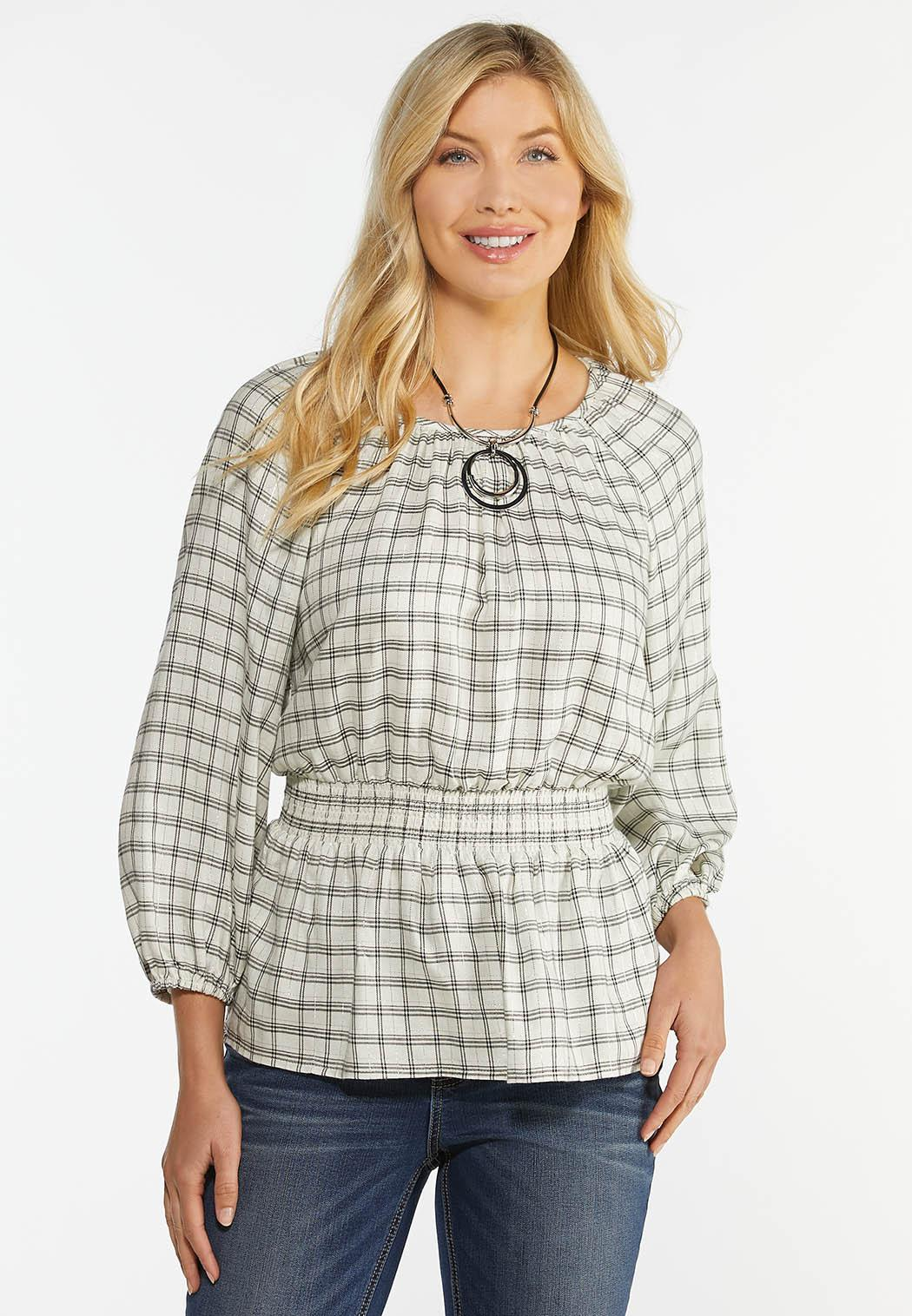 Shimmery Smocked Plaid Top