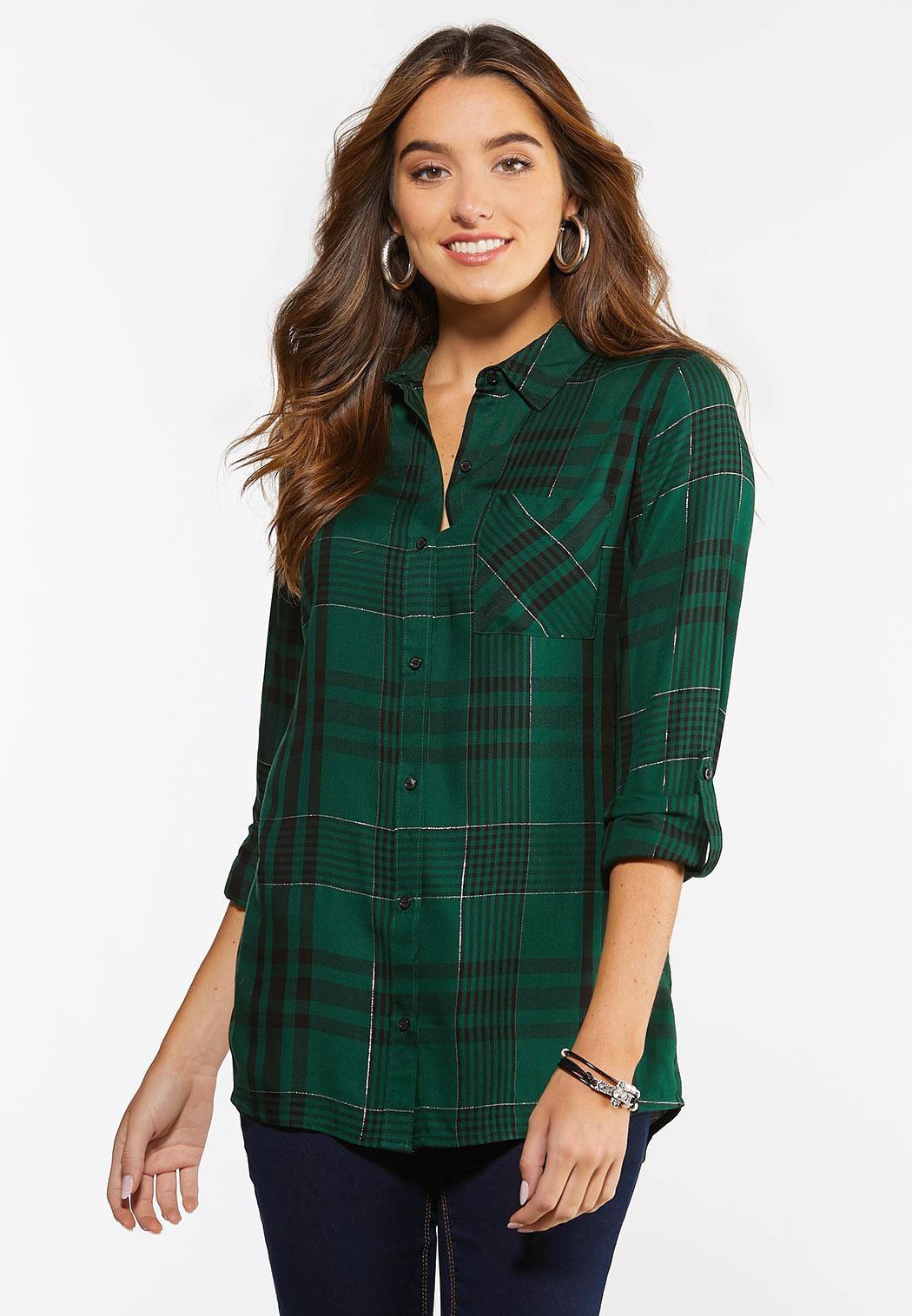 Plus Size Green Plaid Tunic