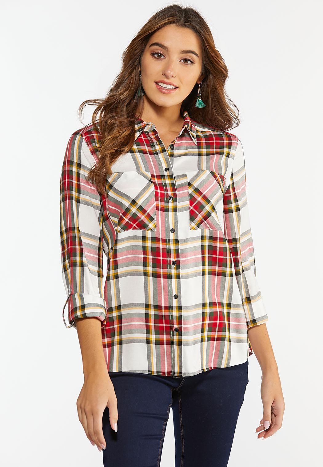 Plus Size Holiday Plaid Shirt