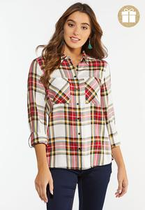 Plus Size Holiday Plaid Shirt