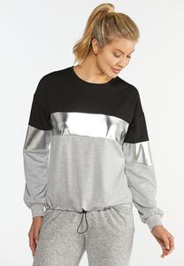 Plus Size Metallic Colorblock Sweatshirt