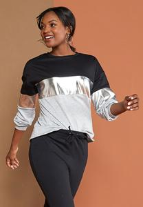 Plus Size Metallic Colorblock Sweatshirt