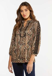 Paisley Lace Inset Sleeve Top