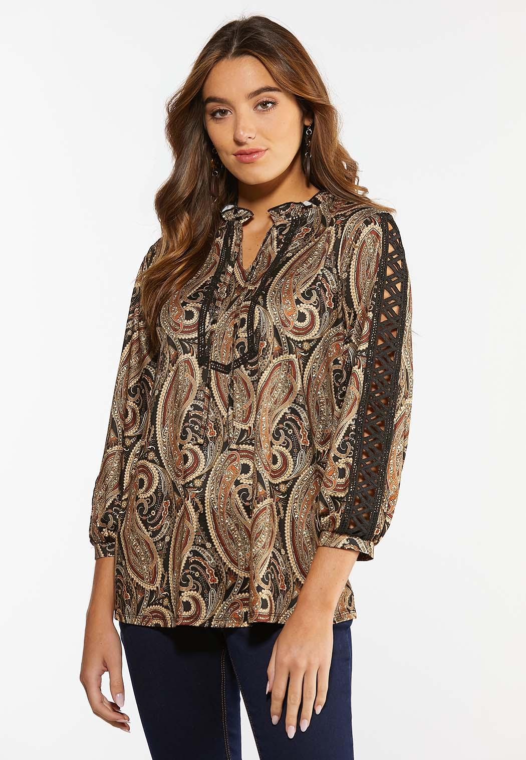 Plus Size Paisley Lace Inset Sleeve Top