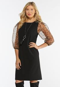 Plus Size Organza Leopard Sheath Dress