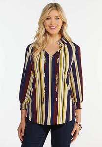 Stripe Smock Neck Top