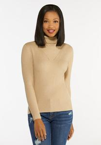 Plus Size Solid Ribbed Turtleneck Sweater