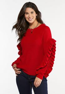 Plus Size Ruffled Sleeve Sweater