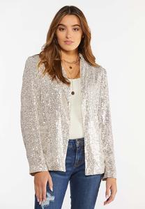 Plus Size Champagne Sequin Jacket