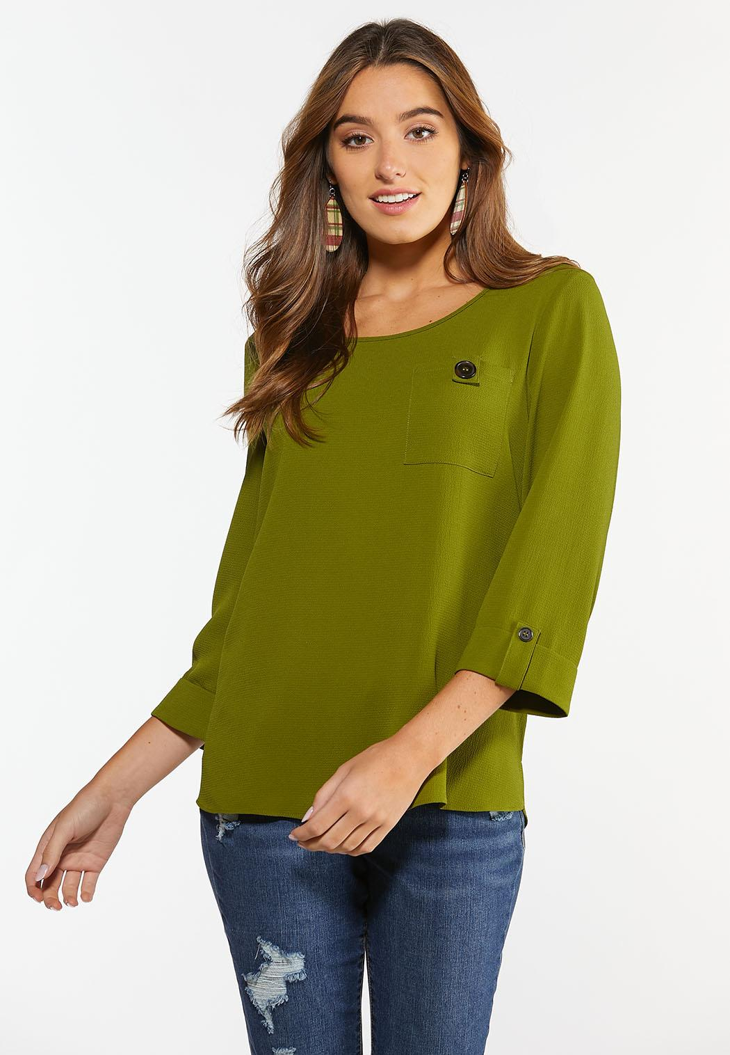 Plus  Size Solid Front Pocket Top