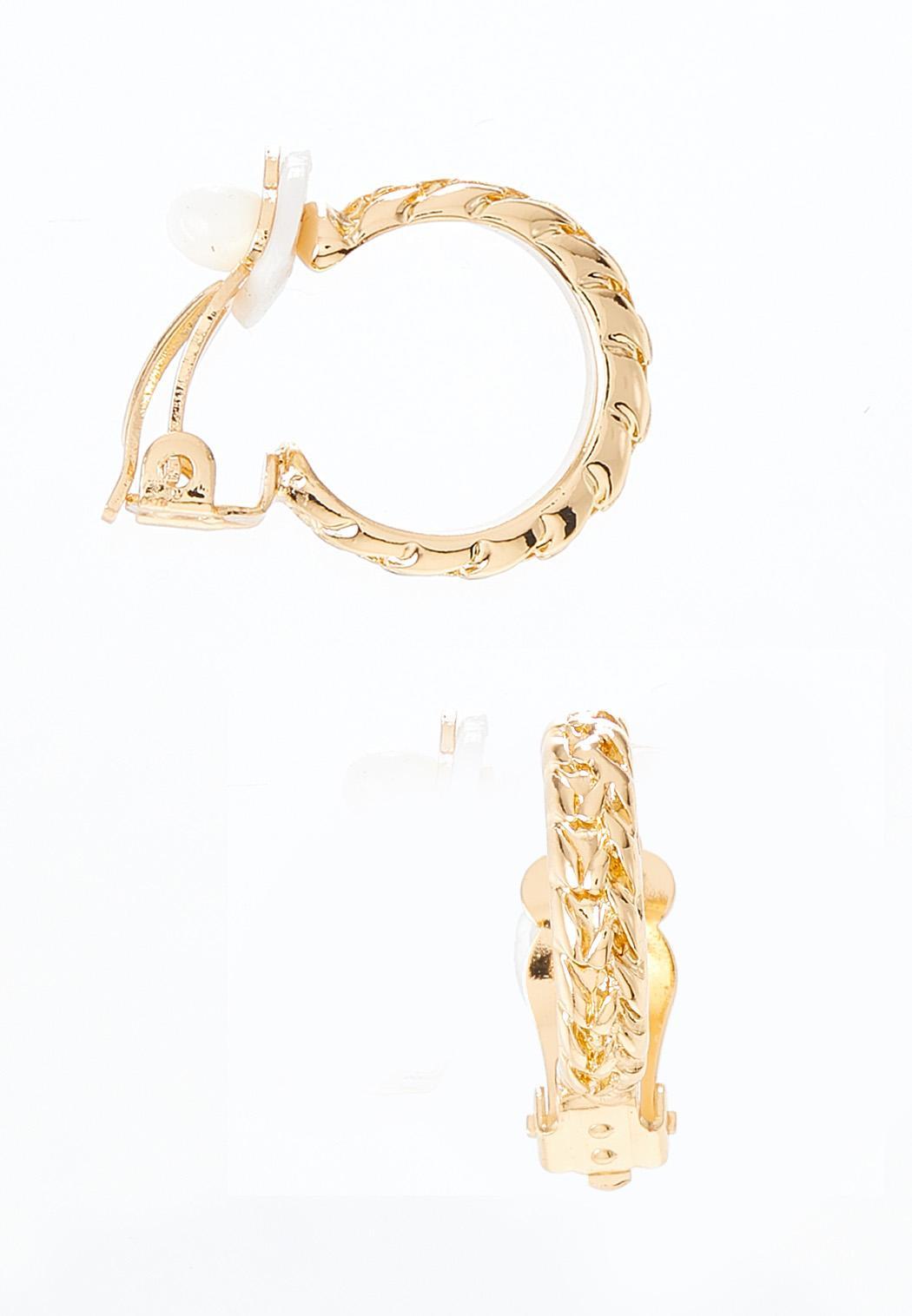 Textured Gold Clip-On Hoop Earrings