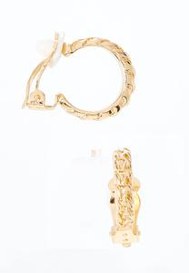 Textured Gold Clip-On Hoop Earrings